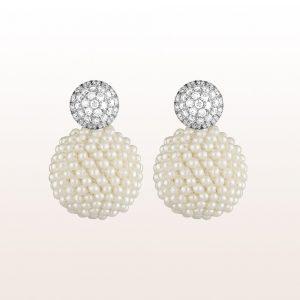 Ohrgehänge mit Brillanten 0,99ct und Perlen in 18kt Weißgold