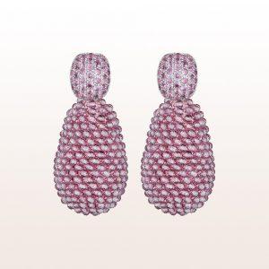 Ohrgehänge mit rosa Saphir 1,40ct und rosa Topas in 18kt Weißgold
