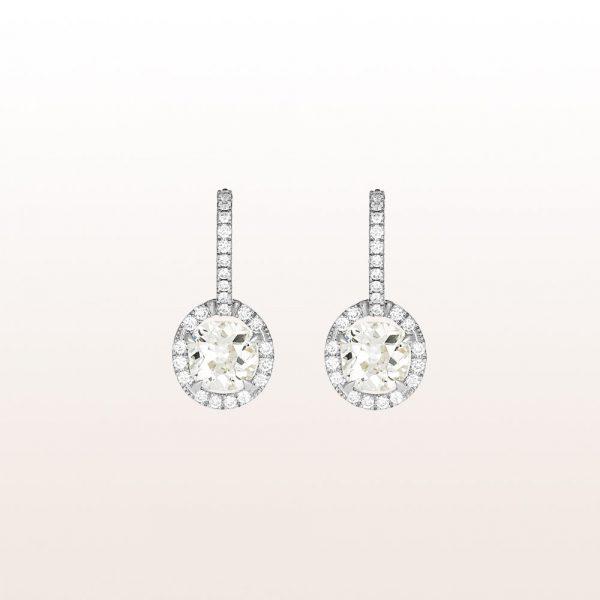 Ohrgehänge mit Altschliff-Diamanten 2,28ct und Brillanten 0,46ct in 18kt Weißgold