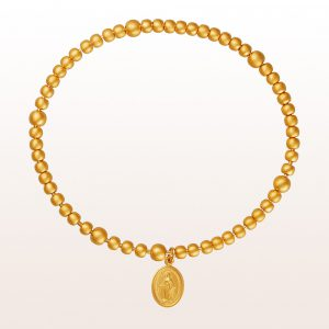 Rosenkranzarmreif mit Muttergottesanhänger in 14kt Gelbgold