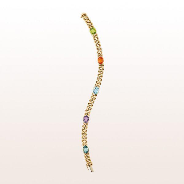 Armband mit Peridot, Mandaringranat, Topas, Amethyst und grüner Turmalin in 18kt Gelbgold