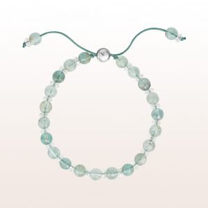 Armband mit Aquamarin und Bergkristall mit Silber Ziehverschluss