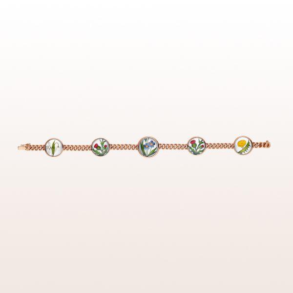 Armband mit Blumenmotiven auf Bergkristall und Perlmutt in 18kt Roségold