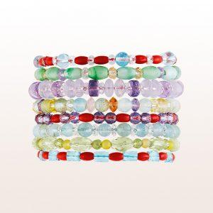 Armbänder aus bunten Edelsteinen mit Silber Ziehveschlüssen