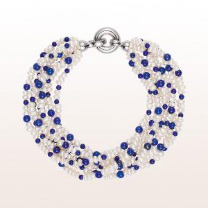 Armband mit Süßwasserperlen, Lapis Lazuli und einer Silber Klappschließe