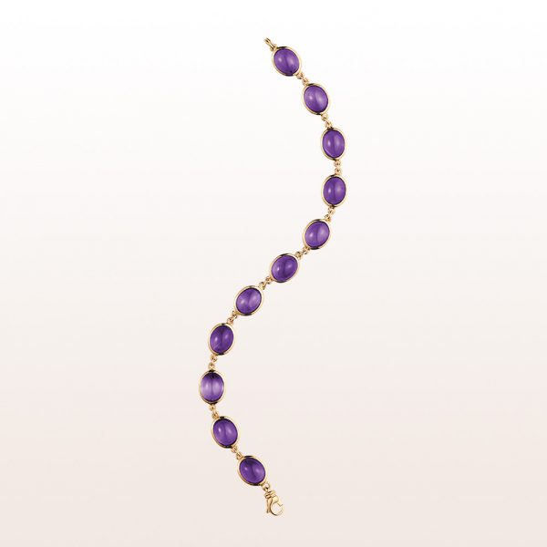 Armband mit Amethyst Cabouchons 27,32ct in 18kt Roségold