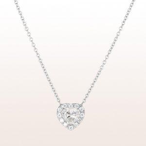 Collier mit Diamantherz 0,77ct und Brillanten 0,14ct in 18kt Weißgold