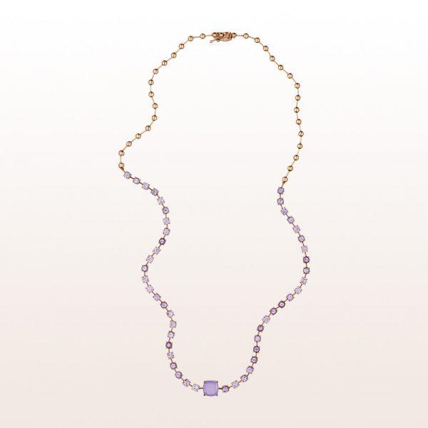 Collier mit violettem Chalzedon und rosa Saphiren in 18kt Roségold