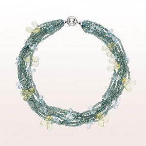 Collier mit grünem Saphir, Lemonquarz, Aquamarin und einer 18kt Weißgold Klappschließe