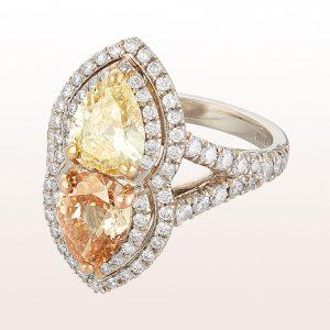Ring mit gelbem und champagner Diamant und Brillanten, insges. 3,30ct in Platin