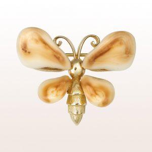 """Brosche """"Schmetterling"""" mit Grandln in vergoldetem Silber"""