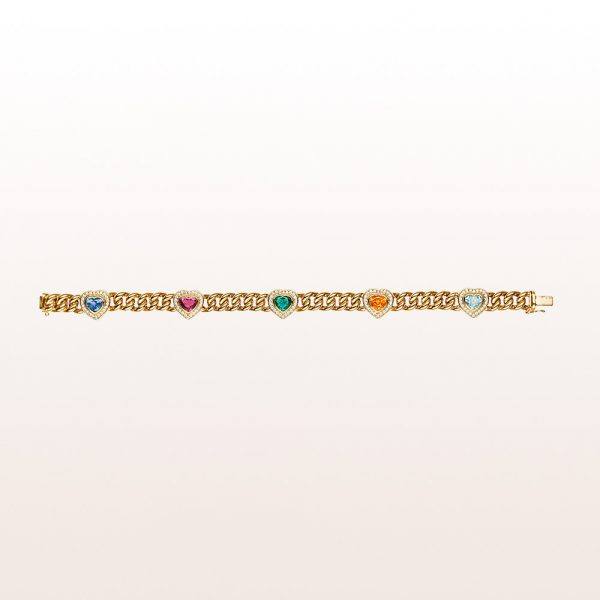 Panzerarmband mit rosa und blauen Saphir-, Smaragd-, Aquamarin- und Citrinherzen mitBrillanten in 18kt Gelbgold