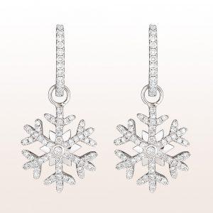 """Ohrgehänge """"Schneeflocken"""" mit Brillanten 0,48ct auf Minicreolen mit Brillanten 0,34ct in 18kt Weißgold"""