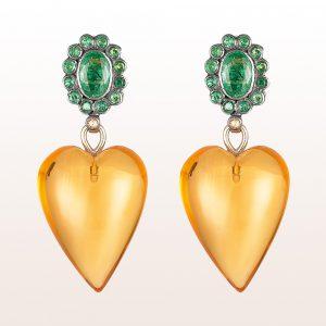 Ohrgehänge mit Smaragdblümchen und Citrinherzen in 18kt Gelbgold
