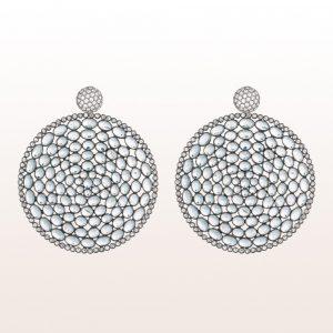 Ohrgehänge mit weißen Mondsteinen und Brillanten 0,99ct in 18tk Weißgold