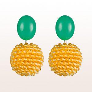Ohrgehänge mit Chrysoprasen und Citrin in 18kt Weißgold