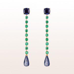 Ohrgehänge mit Smaragde und Iolithe in 18kt Roségold