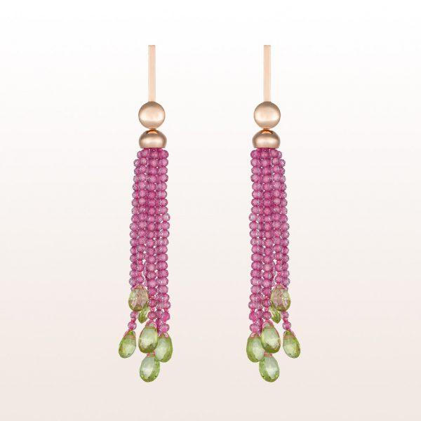 Ohrgehänge mit rosa Spinell und Peridot in 18kt Roségold