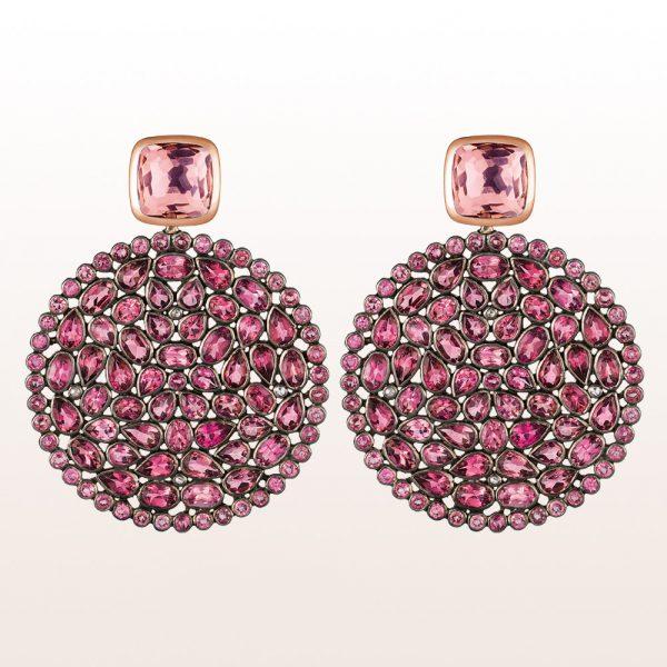 Ohrgehänge mit Rubelliten und rosa Turmalinen in 18kt Roségold