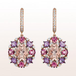 Ohrgehänge mit Morganit 3,41ct, Amethyst 0,84ct, rosa Turmalin 1,06ct und Brillanten 0,68ct in 18kt Roségold