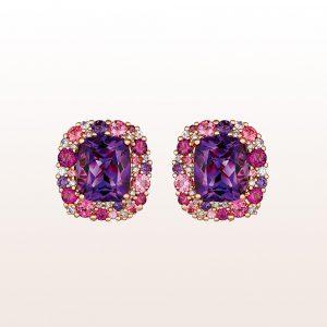 Ohrringe mit Amethyst, Rhodolith, rosa Turmalin, rosa Saphir und Brillanten 0,22ct in 18kt Roségold