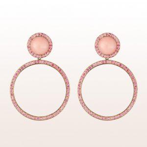 Ohrgehänge mit rosa Koralle und rosa Saphir in 18kt Roségold