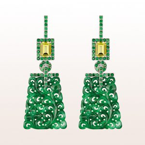 Ohrgehänge mit grüner Jade, gelben Turmalinen 1,77ct und Tsavorit 1,55ct in 18kt Weißgold