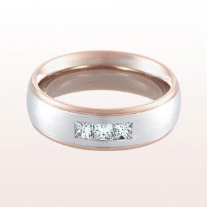 Ehering mit princess cut Diamanten 0,33ct in 18kt Weiß-und Rotgold