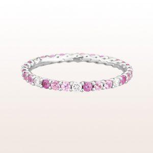 Eternityring mit rosa Saphiren 0,77ct und Brillanten 0,20ct in 18kt Weißgold
