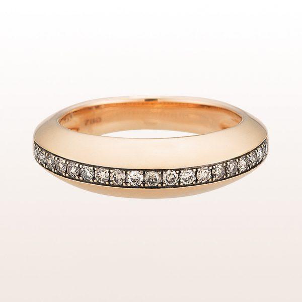 Ring mit braunen Brillanten 0,22ct in 18kt Roségold