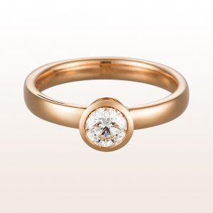 Ring mit Brillant 0,52ct in 18kt Roségold