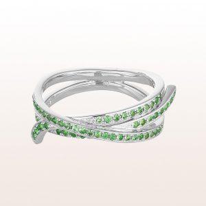 """Segelknoten-Ring """"Webeleinstek"""" von Julia Obermüller mit Smaragden 0,77ct in 18kt Weißgold"""