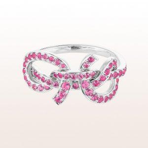 """Segelknoten-Ring """"Gaffeltop"""" von Designerin Julia Obermüller mit rosa Saphiren 1,25ct in 18kt Weißgold"""