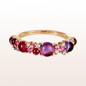 Ring mit Amethyst, rosa Saphir, Rubin und Brillanten 0,12ct in 18kt Roségold