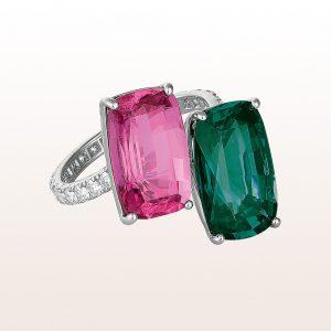 Ring mit blaugrünem Turmalin 5,70ct, Rubellit 5,25ct und Brillanten 0,66ct in 18kt Weißgold