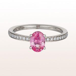 Ring mit rosa Saphir 0,92ct und Brillanten 0,16ct in 18kt Weißgold
