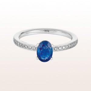 Ring mit Saphir 0,79ct und Brillanten 0,16ct in 18kt Weißgold
