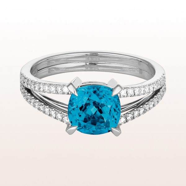 Ring mit blauem Zirkon 2,83ct und Brillanten 0,24ct in 18kt Weißgold