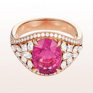 Ring mit Rubellit 3,75ct und Diamanten 1,06ct in 18kt Roségold