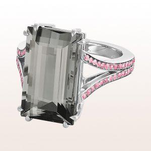 Ring mit grauem Turmalin 12,18ct und rosa Saphir 0,84ct in 18kt Weißgold