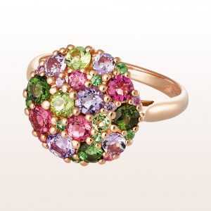 Ring mit Peridot, grünen und rosa Turmalinen und Amethysten in 18kt Gelbgold