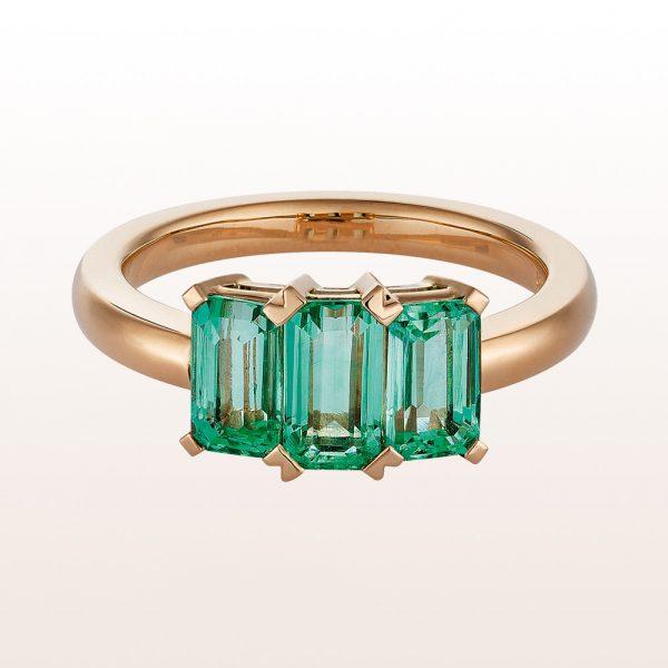 Ring mit grünen Beryllen 2,14ct in 18kt Roségold