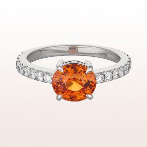 Ring mit Mandaringranat 2,66ct und Brillanten 0,78ct in 18kt Weißgold