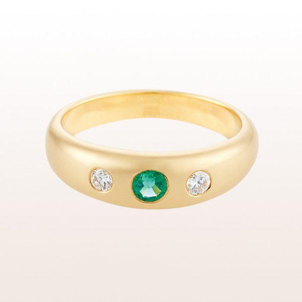 Alliancering mit Smaragd 0,16ct und Brillanten 0,13ct in 18kt Gelbgold