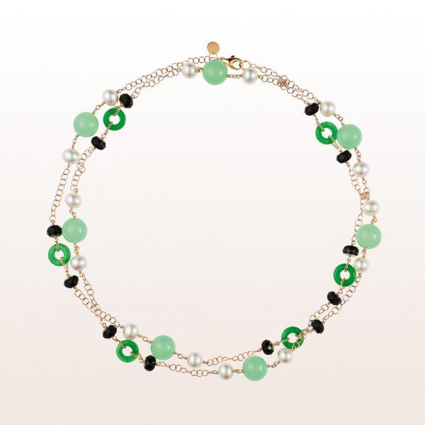 Collier mit Grünachaten, Perlen und Onyx in 18kt Gelbgold