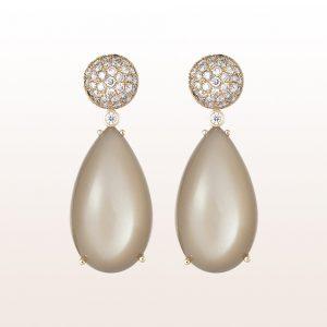 Ohrgehänge mit braunen Brillanten 1,02ct und braunen Mondsteintropfen in 18kt Roségold