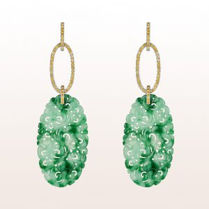 Ohrgehänge mit grüner Jade und gelbem Saphir 1,21ct in 18kt Weißgold