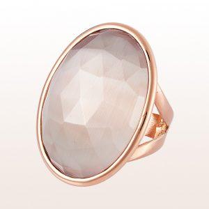 Ring mit grauem Quarz 45,00ct in 18kt Roségold