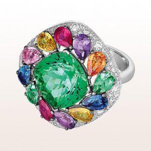 Ring mit grünem Turmalin 8,66ct, Amethyst 0,56ct, Rubin 0,67ct, bunte Saphire 2,54ct und Brillanten 1,16ct in 18kt Weißgold