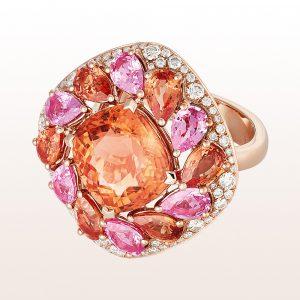 Ring mit orangem Turmalin 7,22ct, rosa und orangen Saphiren 4,87ct und Brillanten 1,16ct in 18kt Roségold